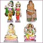 Marble God Statues and Wooden Temples